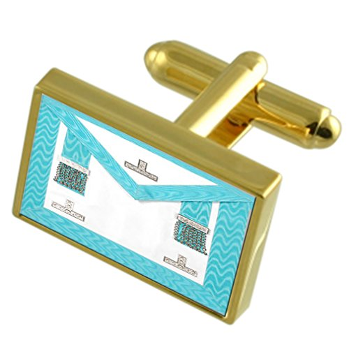 Select Gifts Masonic Craft Worshipful Master Regalia Apron Gold-Tone Cufflinks Engraved Message Box (Message Christmas Worshipful Master)