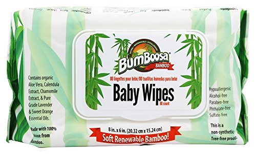 Bum Boosa Bamboo Baby Wipes 80 ea(Pack of 4)