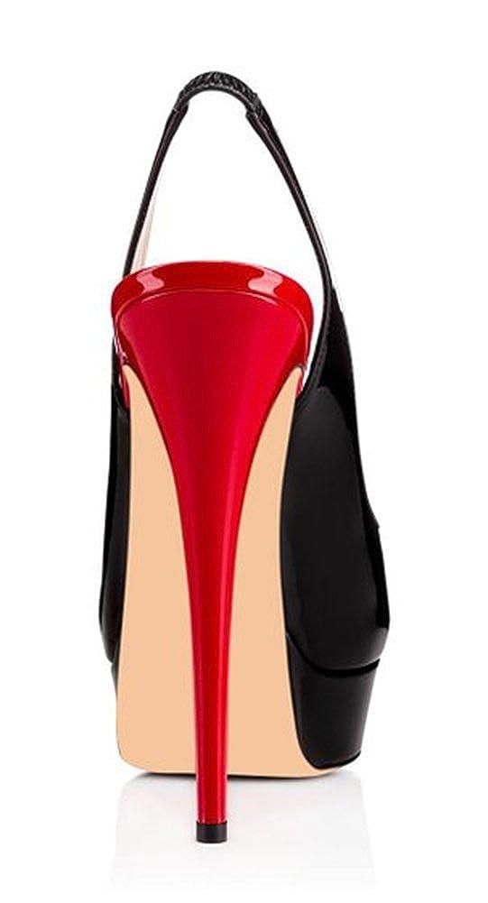 Amy Q Womens Peep Toe Platform Slingback Stiletto Pumps High Heel Sandals Party Dress Shoes