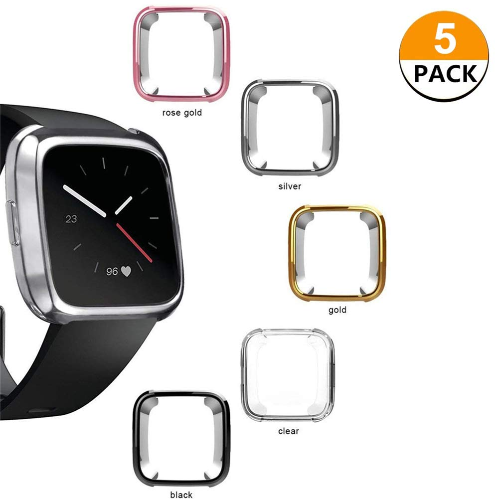 LLGLTEC [5-Pack] Compatible with Smartwatch Cases Screen Protector Case Soft TPU Plated Case Full Protective Bumper Shell Cover for Fitbit Versa Smart Watch (5 Packs+1Package) by LLGLTEC