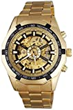 Mastop BEST SELLING RUSSIAN SKELETON Luxury Men's Automatic Mechancial Wrist Watch Golden Strap Black Dial