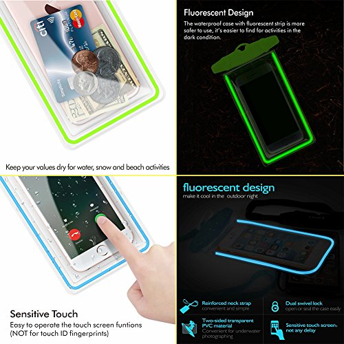 2 Pack WJZXTEK Waterproof Case Universal Waterproof Phone Pouch IPX8 Phone Case Clear Sensitive PVC Screen Dry Bag for iPhone X 8 8Plus 7 7PLUS 6S Samsung Galaxy S9 S8 S7 HTC10 Google Sony Nokia