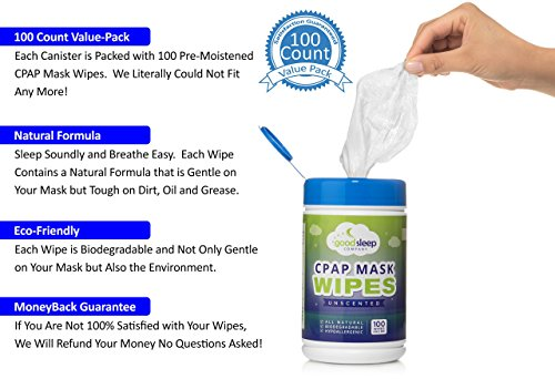 CPAP Mask Cleaning and Sanitizing Wipes, 100 Pack Unscented - Natural Formula, 100% Cotton and Biodegradable by GoodSleep Company (Image #1)