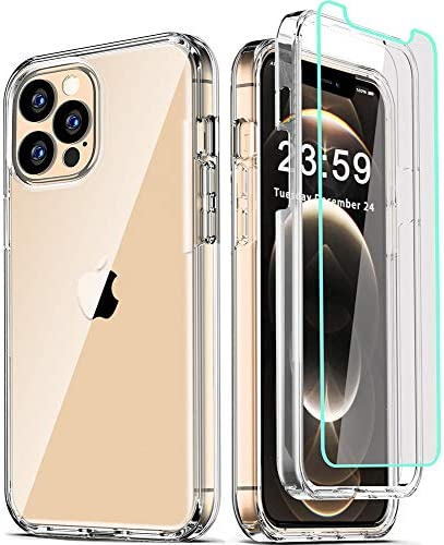 COOLQO Compatible for iPhone 12 Pro Max Case 6.7 Inch, with [2 x Tempered Glass Screen Protector] Clear 360 Full Body Coverage Silicone Protective 12 toes Shockproof Phone Cover