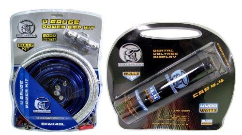 BULLZ AUDIO BCAP 4.4 Farad Car Digital Power Capacitor + EPAK4BL 4 Gauge Amp Kit
