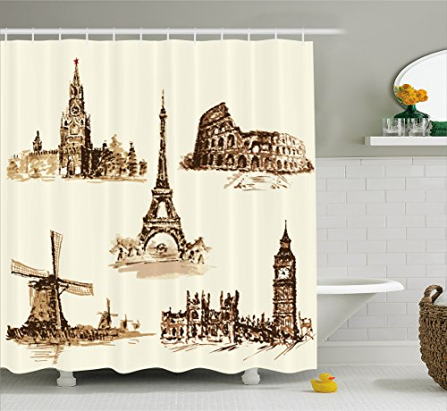 Ambesonne Ancient Shower Curtain, European Landmark Traveller Tourist Cities Italy France Spain Sketchy Image, Fabric Bathroom Decor Set with Hooks, 75 Inches Long, Brown and Cream by Ambesonne