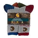 Carhartt Big Boys' 4 Pack Rib Crew Socks, Grey/Blue/Brown/Orange/Red, Shoe Size: 3-9 Large