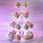 Cupcake Display Stand, AMEITECH Acrylic Cupcake Tower Display with LED String Light - 4 Tier Cupcake Holder Dessert Stand Pastry Stand for Wedding, Birthday Party -15.5 Inches
