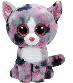 Ty - Beanie Boos Lindi, Gato, 23 cm, Color Gris / Rosa (