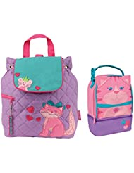 Stephen Joseph Girls Quilted Cat Backpack and Lunch Pal Combo for Kids