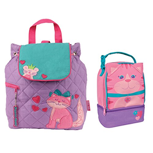 Stephen Joseph Girls Quilted Cat Backpack and Lunch Pal Combo for Kids (Quilted Backpack Girls)