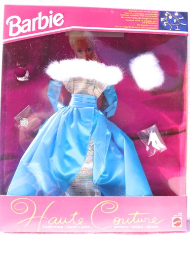 Barbie Haute Couture Straight Pink and Turquoise Stripe Gown with Full Turquoise Satin Overlay Skirt and White Faux Fur Trim at Shoulders (1993) ()