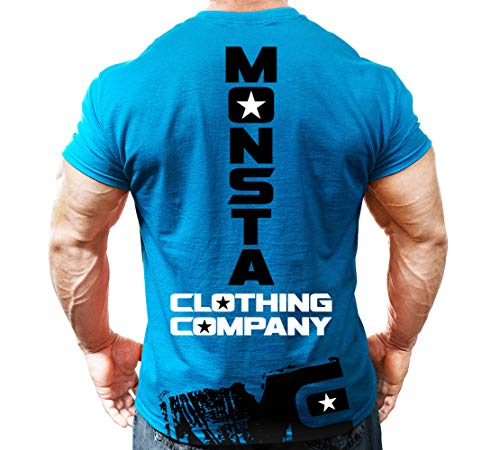 Monsta Clothing Co. Men's Monsta MC-Drift (Dumbbell) T-shirt Medium Blue