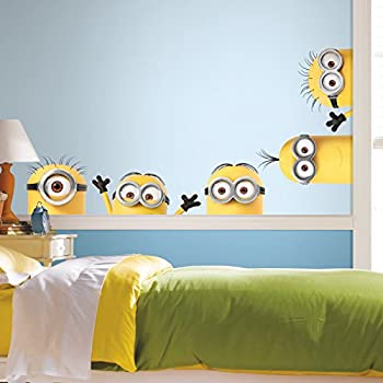 RoomMates RMK3567GM Despicable Me 3 Peeking Minions Giant Peel and Stick Wall Decals
