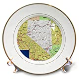 3dRose Lens Art by Florene - Topo Maps, Flags of States - Image of Nevada Topographic Map with State Flag - 8 inch Porcelain Plate (cp_291416_1)