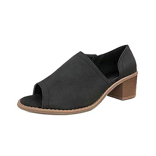 ba4e1954eac2d MayBest Women Slip On Fashion Side Cuts Peep Toe Chunky Block Low Heel  Ankle Booties