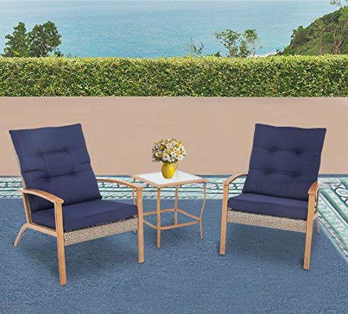 Solaura 3-Piece Outdoor Furniture Grey Wicker Soft Bistro Set Wood-Grain Arm Rest with Nautical Navy Blue Thickened Cushions & Glass Coffee Table