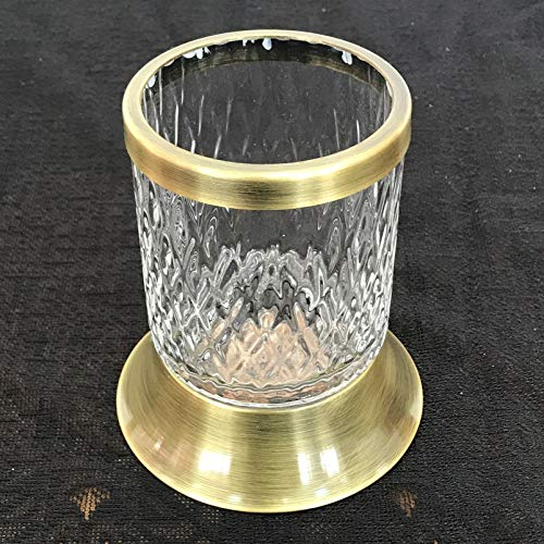 Toothbrush Toothpaste Holder Lux Antique/Polished/Black Metal Design-Toothbrush Toothpaste Holder-Rustic Toothbrush Holder-Bathroom Countertop Organizer-Bathroom Accessories (Antique) (Series Toothbrush Holder Brass)