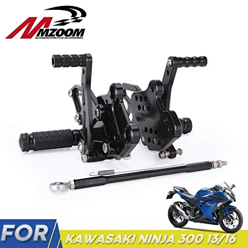 Frames & Fittings CNC Adjustable Motorcycle Billet Foot Pegs Pedals Rest Rearsets Rear Set for Kawasaki Ninja 300 13~16 Universal Motorcycle Parts - CN
