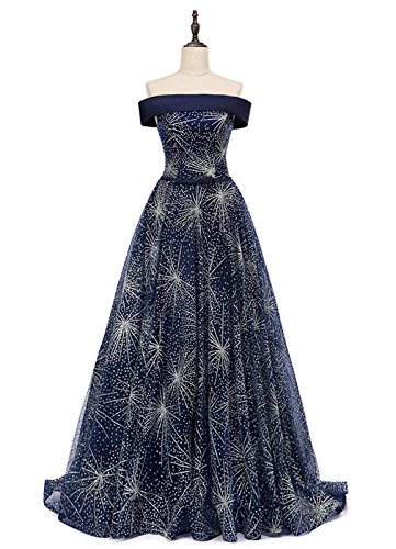 Dearta Women's A-Line Off-The-Shoulder Sweep Train Corset Prom Dress Navy US 14
