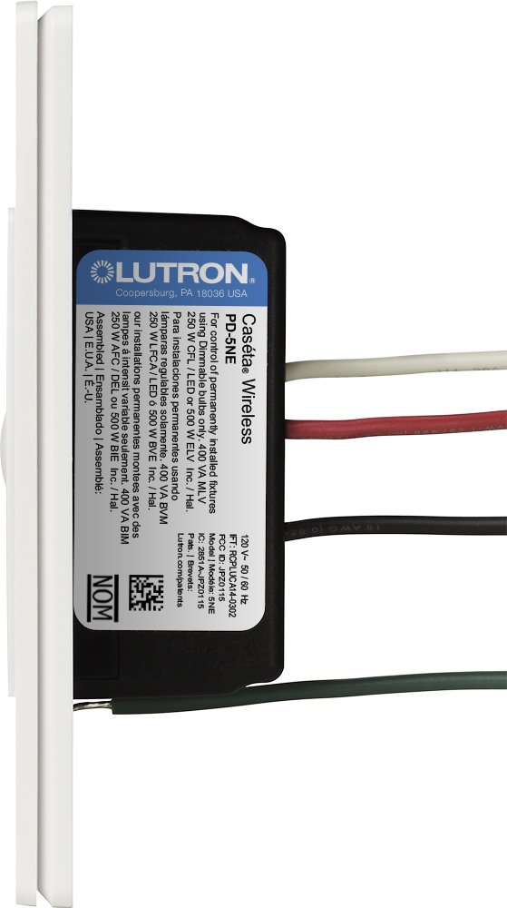 Lutron PD-5NE-WH ELV Caseta Wireless Electronic Low Voltage In-Wall Dimmer 1 Pack White by Lutron (Image #2)