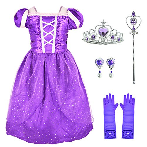 Purple Dress Long Hair Princess Rapunzel Costume Girls Birthday Party Dress Up with Accessories Age of 8-9 Years