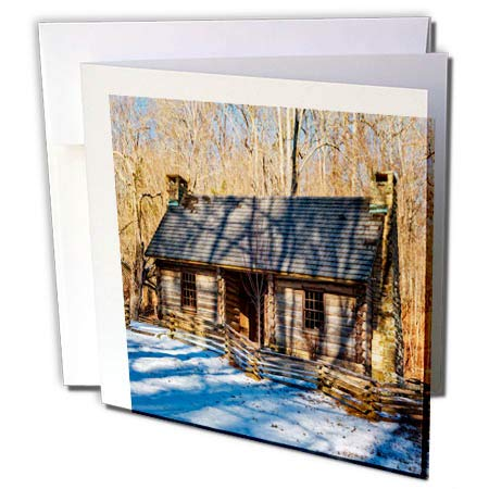 - 3dRose Mike Swindle Photography - Landscape - Cabin in Snow - 12 Greeting Cards with envelopes (gc_304161_2)