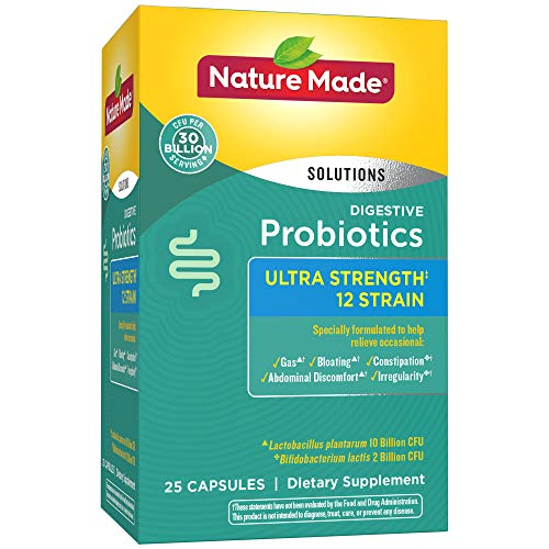 Nature Made Digestive Probiotics Ultra Strength Capsules: 12 Strain, 30 Billion CFU, 25 Count