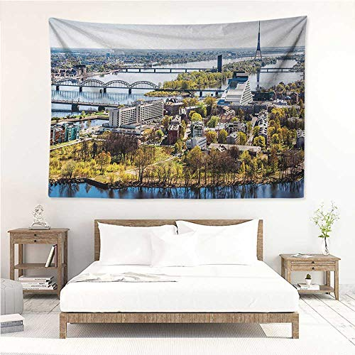 alisos European,Christmas Tapestry Aerial View of Riga City European Cultural Urban Print Horizon with Old Tower 72W x 54L Inch Bedspread Bedroom Living Kids Girls Multicolor