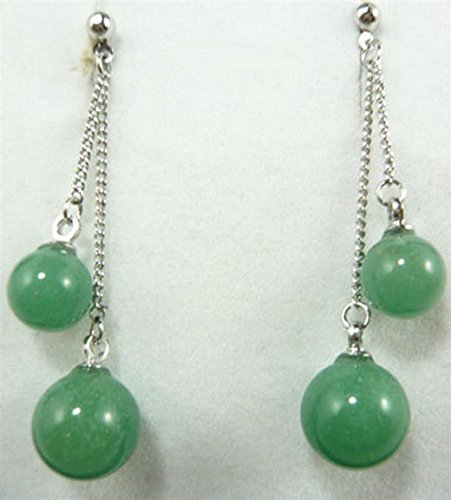 FidgetFidget Natural Light Green Jade Beads White Plated Stud Dangle Earrings ()