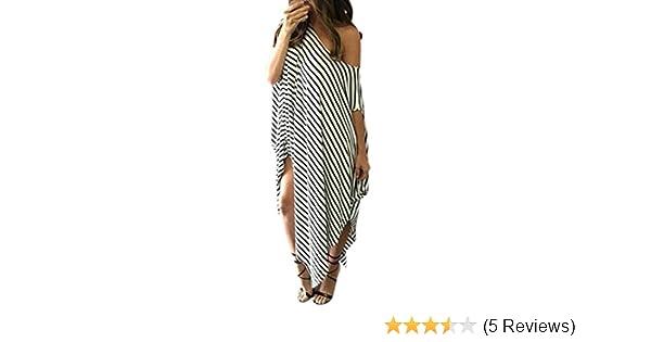 Amazon.com  Paymenow Off Shoulder Maxi Dress Women Loose Striped Short  Sleeve Shirts Dress Summer Irregular Hem Baggy Long Tunic Dress  Clothing 9ce27cc54