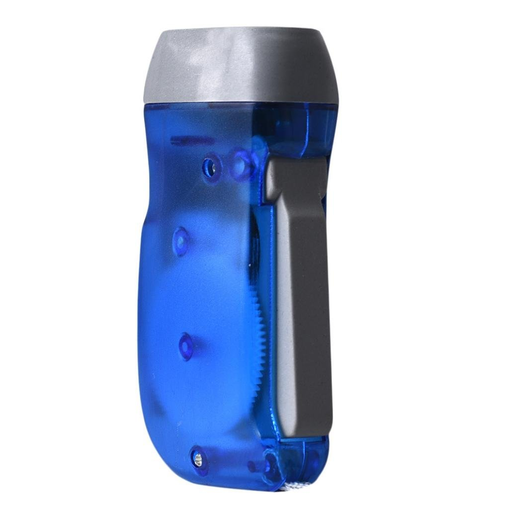 Flashlight,Datework Hand Pressing Crank Emergency Camping LED Flashlight (blue)