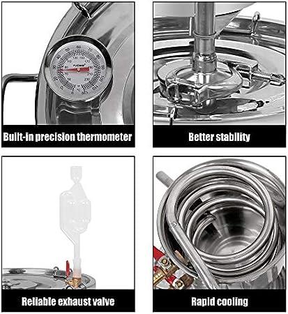 Inicio Nuevo Destilador Inoxidable Kit 2 Gal 10 litros Alcohol Vino Moonshine Still Spirits Caldera Agua Aceite Brandy Brewing