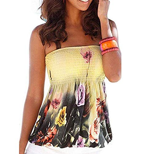 - Off Shoulder Tube Tops for Women Backless Printed Floral Smocked Twisted Wrap Tops Stretch Sleeveless Strapless Tunics Shirt (XL)