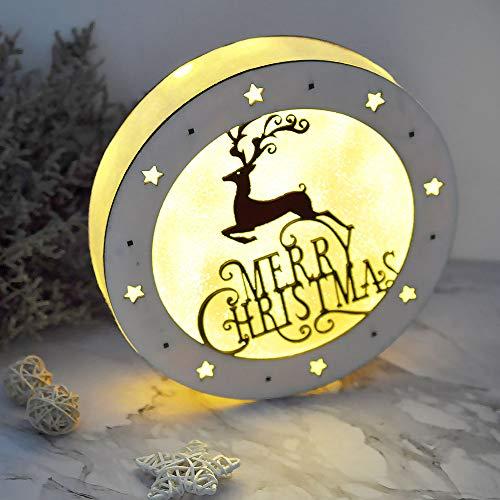eZAKKA Christmas Reindeer Nightlight Desk Kids Bedroom Decoration Lamp Colorful Santa Wooden Decor by eZAKKA (Image #5)