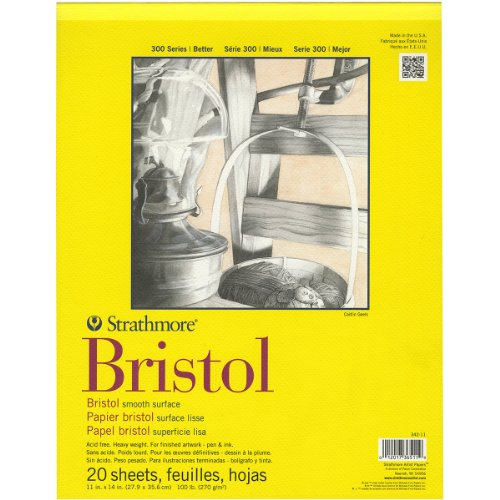 Strathmore 342-11 11-Inch by 14-Inch Bristol Smooth Paper Pad, 20-Sheet