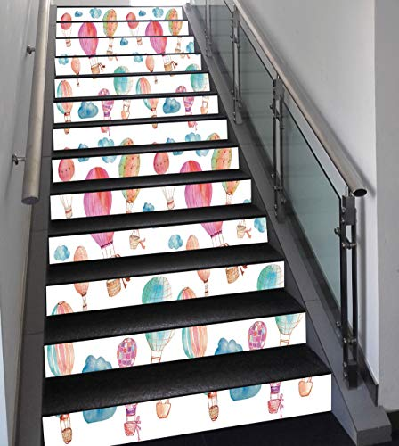 Stair Stickers Wall Stickers,13 PCS Self-adhesive,Watercolor,Hand Painted Style Set of Cute Floating Hot Air Balloons with Blue Clouds,Blue Pink Coral,Stair Riser Decal for Living Room, Hall, Kids Roo ()