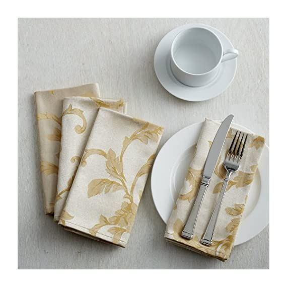 """Benson Mills Harmony Scroll Tablecloth (60"""" X 120"""" Rectangular, Silver - Gold) - Fabric Content: 58% Cotton, 42% Polyester Features a hand assembled Mitered Border. Available with Matching Napkins Cotton Rich, Heavy Weight Fabric(Very easy to clean; Machine wash in warm water with like colors; Use non-chlorine bleach when needed; Tumble dry low.) - tablecloths, kitchen-dining-room-table-linens, kitchen-dining-room - 517YAYtfyVL. SS570  -"""