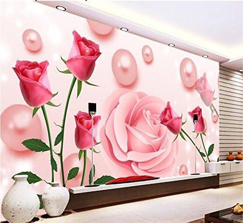 Weaeo 3D壁紙カスタム壁画不織布壁ステッカー甘いピンクのバラ壁テレビ3D壁壁の壁紙-280X200Cm