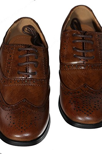 Image of Boys Brown Oxford Pattern Lace Up Formal Dress Shoes (Boys 1)