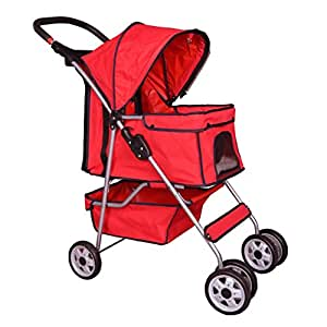 Pet Stroller Cat Dog Cage Travel Folding Carrier 4 Wheels Red #431