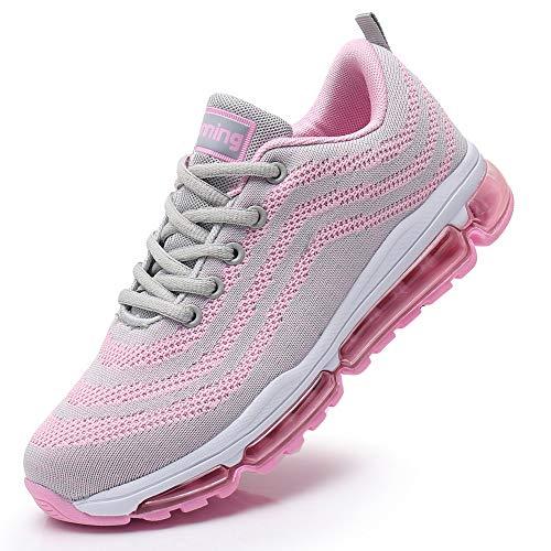 Impdoo Womens Air Cushion Tennis Running Shoes Lightweight Walking Fitness Jogging Cross Training Gym Sport Sneakers (Pink US 5.5 B(M)