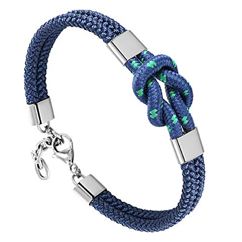 QLEESI Men's Infinity Love Symbol Knotted Leather Bracelet Cuff,  Waterproof Nautical Style Rope Bracelet for Men, Long Distance Knot Bracelet Wristband Bangle Chain Jewelry, Gifts for Sailors