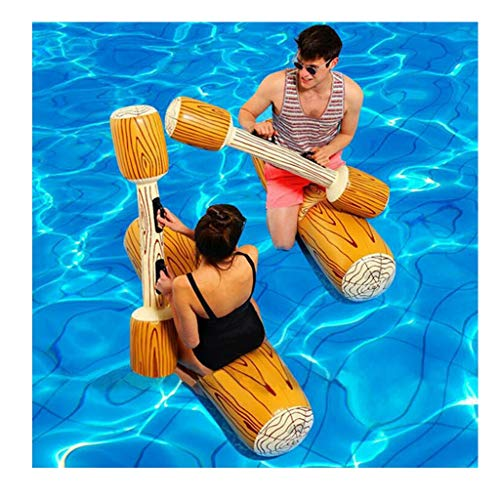 Coohole 2 Pcs Package Inflatable Floating Water Toys Summer Outdoor Beach Inflatable Double Beat Pool Floats Ride Boat Raft for Pool Party Beach Swimming Pool Toys Stick Set for Adult and Kids (Gold)
