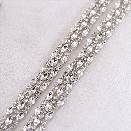 Sash Trim (FANGZHIDI 1 Yard Thin Stunning Rhinestone Trims Belt Crystal Chain Embellishment Wedding Sash Belts Appliques Hot Fix Rhinestones for Wedding Dress Evening Gown Bridal Accessories DecorationDIY)