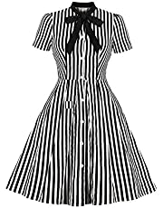 Women 1950s Vintage Costume Stripe Midi Dress Bow Tie Collar Elegant Office Casual Stylish Goth Rockabilly Dresses