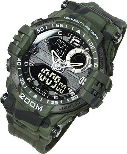 Lad Weather Analog - Digital Watch 660 ft Waterproof Stopwatch Timer Alarm World time Naval Camouflage Combat ()