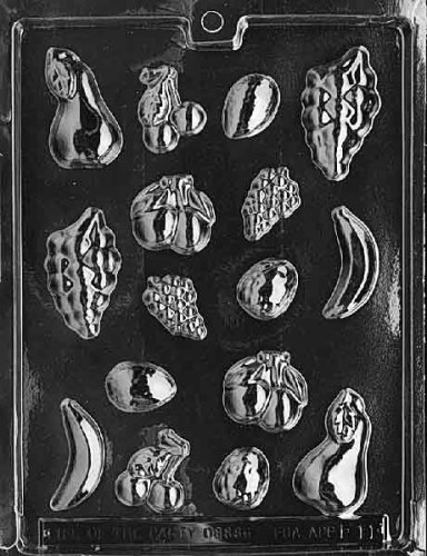 Cybrtrayd Life of the Party F011 Grapes, Banana, Pear, Cherry, Avocados Fruit Chocolate Candy Mold in Sealed Protective Poly Bag Imprinted with Copyrighted Cybrtrayd Molding Instructions
