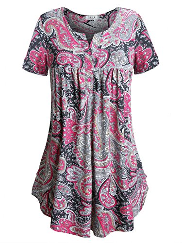 Rose Print Blouse (Split Neck Blouse for Women,DSUK Women's Flared Hipster Simple Floral Print Pattern Rouched Button Decor Smoothly New Graceful Thin Lightweight Tunic Tops for Saturday Casual Dark Rose X-Large)
