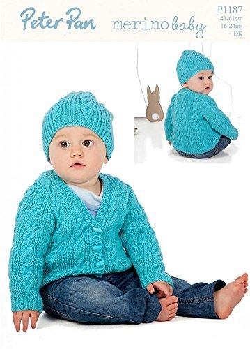 Peter Pan Baby Cardigans & Hat Merino Baby Knitting Pattern 1187 DK